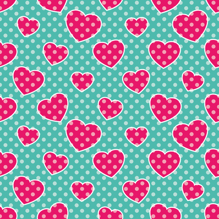 corazones azules: Pop-Art Hearts, Seamless colorful pattern with pink hearts on blue background, vector illustration, polka-dot