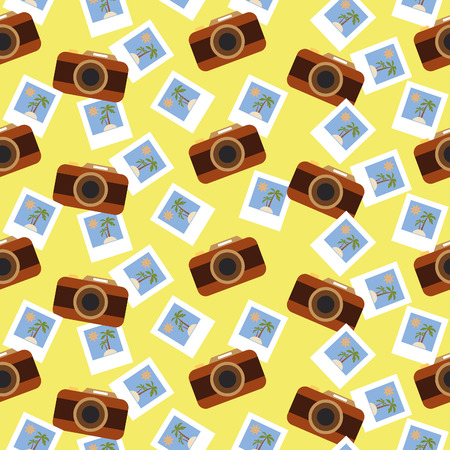 polariod frame: Summer photos, Seamless summer pattern with cameras and shots