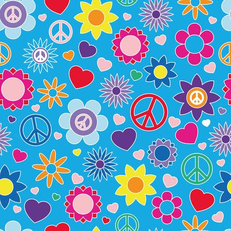 patrón hippie, colores brillantes, ilustración vectorial sin fisuras