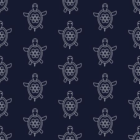coastlines: Nautical pattern with turtles, seamless vector illustration