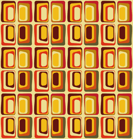 Retro textile inspired by 60s, seamless vector pattern