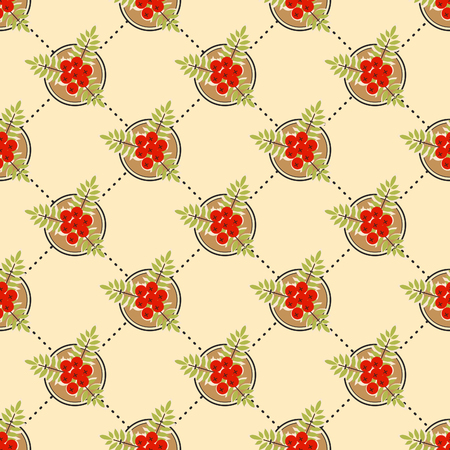 red berries: Seamless pattern with red berries