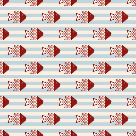 abstract fish: Abstract fish, Seamless pattern with fish on striped background