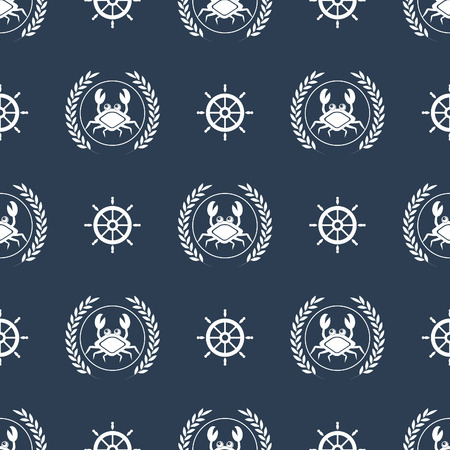 maritime: Maritime mood, Seamless nautical pattern with crabs and steering wheels