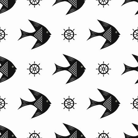 maritime: Maritime mood, Seamless nautical pattern with fishes and steering wheels, black-and-white