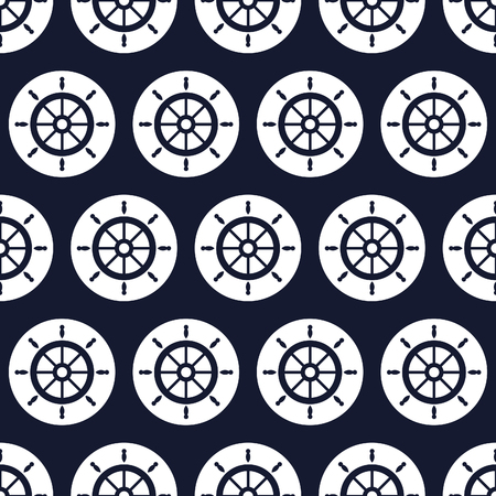 maritime: Maritime mood, Seamless nautical pattern with steering wheels
