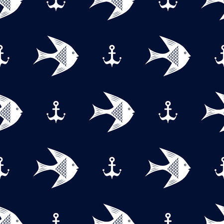 maritime: Maritime mood, Seamless nautical pattern with fishes and anchors