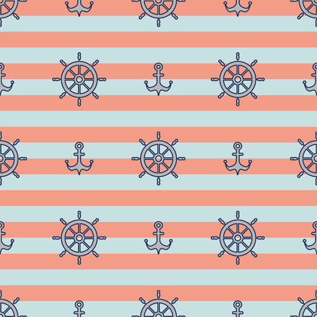 breton: Nautical pattern, Seamless vector illustration with wheels and anchors, striped background Illustration