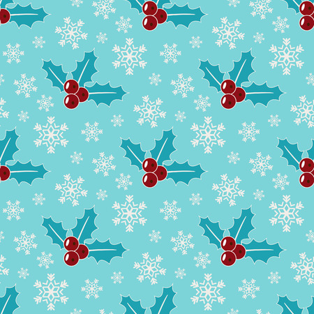 Mistletoe and snowflakes. Seamless christmas patern