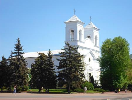 Holy Cross church in summer, Brest, Belarus Stock Photo