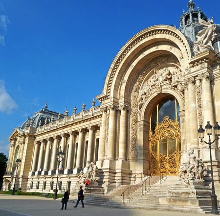 fasade: The part of the fasade of the Petit Palais (small palace), an art museum in the 8th arrondissement of Paris, France Editorial