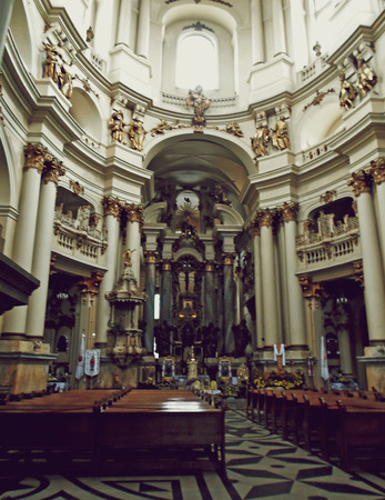 atheism: Interior of the Dominican Church, Lviv, Ukraine - May 2016 Editorial