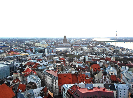 Panoramic view to the city center of old Riga from the Saint Peters Churchs tower, Latvia - December 2016 Editorial