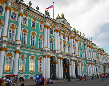 peter the great: The State Hermitage Museum or the Winter Palace, a former residence of Russian emperors in Saint Petersburg, Russia - July 2016