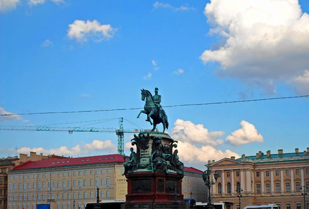The Monument to Nicholas I, a bronze equestrian monument of Nicholas I of Russia on St Isaacs Square (in front of Saint Isaacs Cathedral) in Saint Petersburg, Russia - June 2016 Editorial