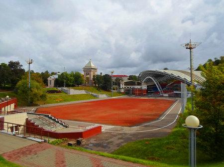 rostrum: Summer amphitheater in Vitebsk, Belarus. Amphitheater is a traditional scenic platform for a popular festival Slavic Bazaar - september 2016