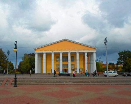 portico: National Academic Drama Theater named after Yakub Kolas, Vitebsk, Belarus - september 2016