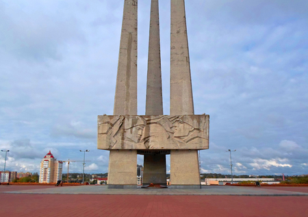 Memorial complex Three bayonets on the Victory Square in Vitebsk, Belarus - September 2016