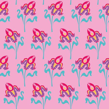 アール ヌーボー花シームレス花柄パターン ヴィンテージ スタイル