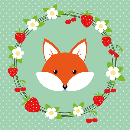 Cute cartoon fox in a frame of flowers and berries