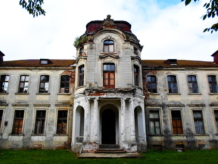 Abandoned palace in Belarus (Zheludok, Grodno region), built in the early twentieth century, example of Art Nouveau style Stock Photo