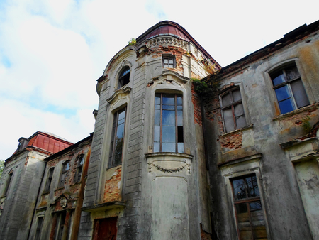 Abandoned palace in Belarus (Zheludok, Grodno region), built in the early twentieth century, example of Art Nouveau style Editorial