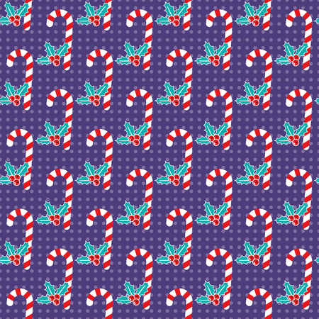 Romantic Christmas pattern with candy canes and mistletoe