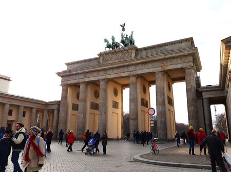 BERLIN, GERMANY - December 3, 2017: The Brandenburg Gate, an 18th-century neoclassical monument in Berlin