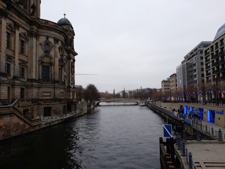 BERLIN, GERMANY - December 3, 2017: Berlin Cathedral (in German, Berliner Dom) and the Spree river