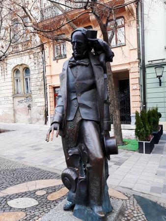 Bratislava, Slovakia - 15 December 2017: Monument to Hans Christian Andersen in the Old Town of Bratislava