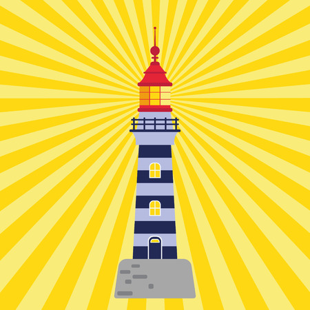 Lighthouse. Vector illustration of flat design. Vintage poster