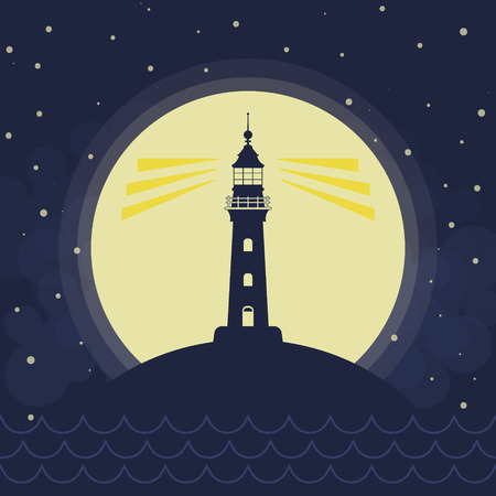 Lighthouse silhouette, full moon, vawes and stars, vector background  イラスト・ベクター素材
