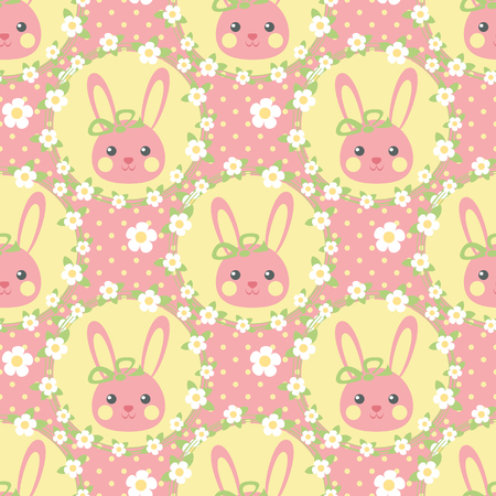 Funny bunny in a wreath of flowers, Seamless vector illustration with cute characters, vintage style