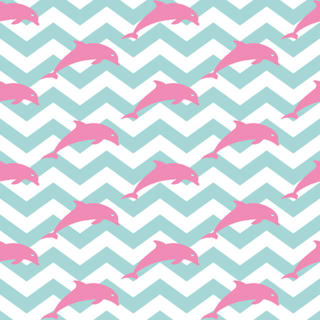Jumping dolphins. Seamless nautical pattern with silhouettes of dolphins. Zig zag background