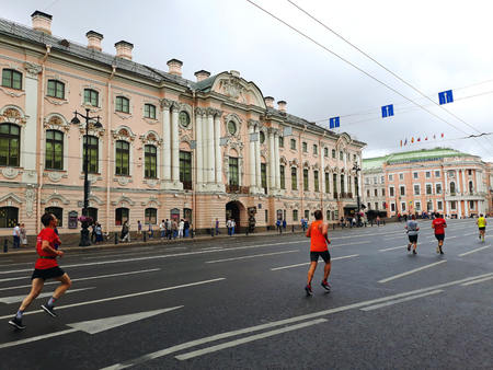 Saint Petersburg, Russia - August 4, 2018: The Stroganov Palace, a Late Baroque palace at the intersection of the Moika River and Nevsky Prospect