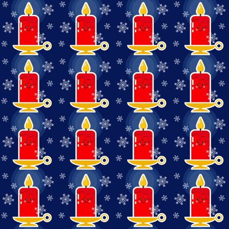 Christmas pattern. Seamless vector illustration with candles and snowflakes Ilustracja