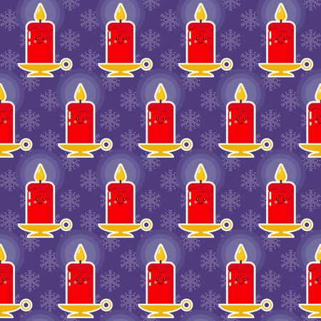 Christmas pattern. Seamless vector illustration with candles and snowflakes Zdjęcie Seryjne - 131193770