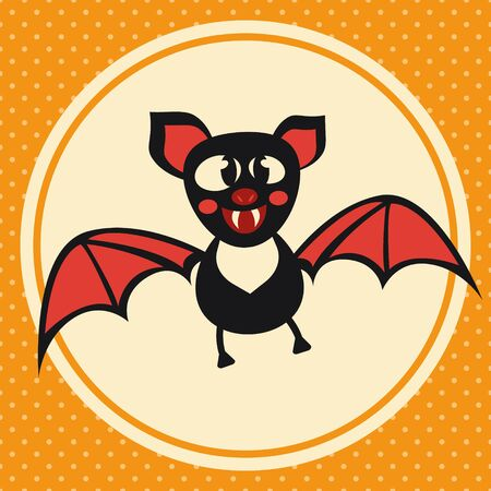 Cute Halloween bat. Vector illustration with funny character