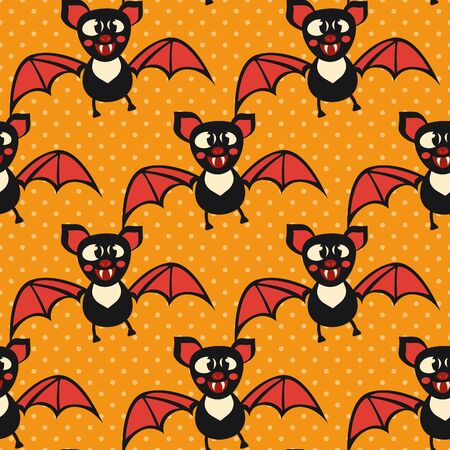 Cute Halloween bat. Seamless vector illustration with funny characters