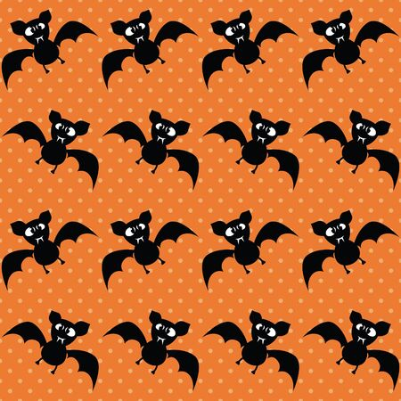 Cute Halloween bat. Seamless vector illustration with funny characters Vettoriali