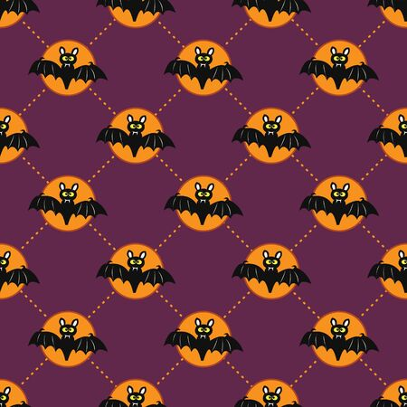 Cute Halloween bat. Seamless vector illustration with funny characters Illustration