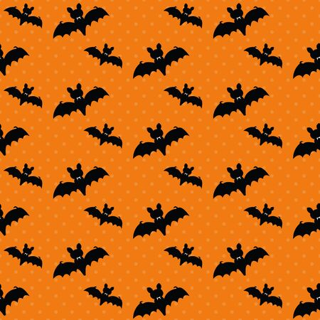 Cute Halloween bat. Seamless vector illustration with spooky silhouettes