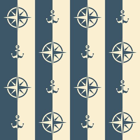 Nautical pattern, Seamless vector illustration with roses of wind and anchors