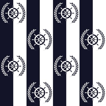 Nautical pattern, Seamless vector illustration with ship steering wheel and leaf wreath, high-contrast image 向量圖像
