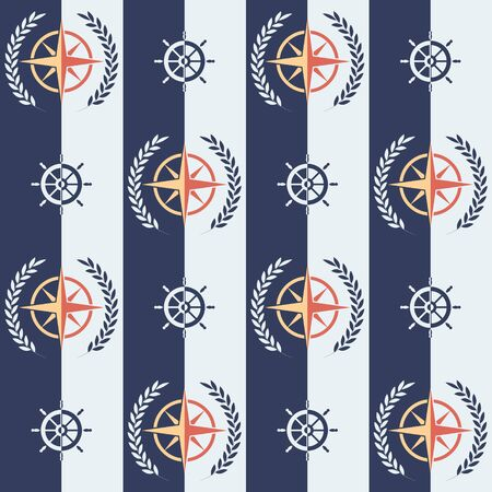 Nautical pattern, Seamless vector illustration with rose of wind and leaf wreath, steering wheel Banque d'images - 131193681