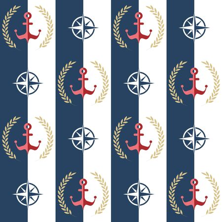 Nautical pattern, Seamless vector illustration with anchor and leaf wreath, rose of wind