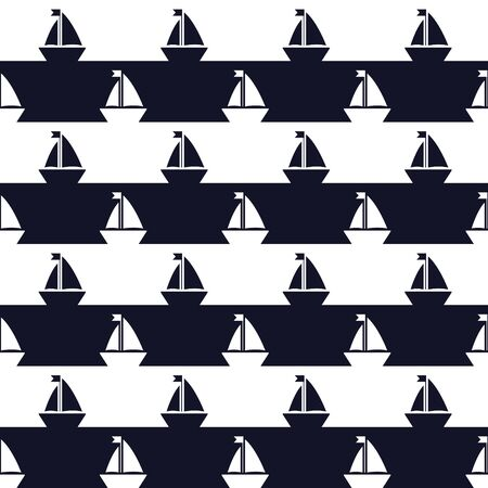 Ship silhouettes, Seamless vector illustration with abstract ships and striped background