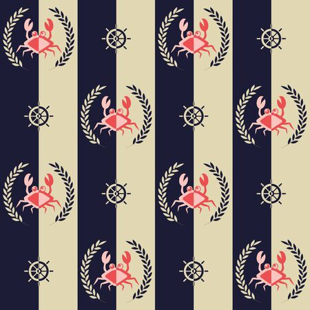 Nautical pattern, Seamless vector illustration with abstract crabs and steering wheels