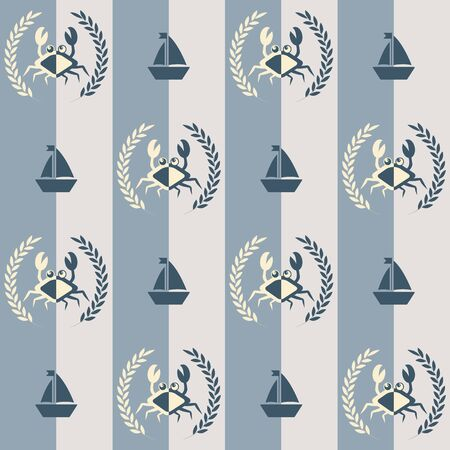 Nautical pattern, Seamless vector illustration with abstract crabs and ships Illusztráció