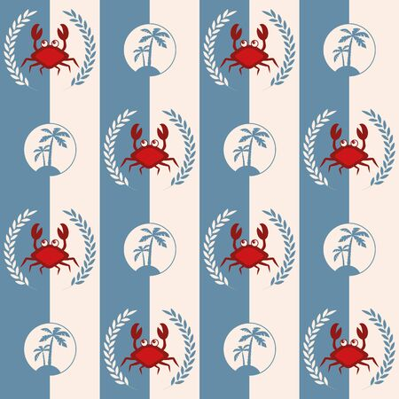Nautical pattern, Seamless vector illustration with abstract crabs and palm trees Illusztráció